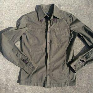DSQUARED Olive Safari Button Down Shirt